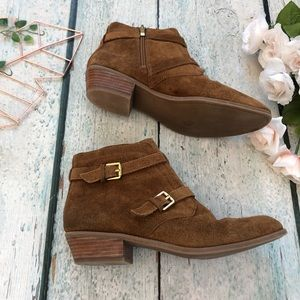 Franco Sarto 9.5M brown suede ankle boots leather